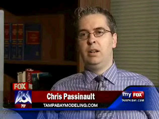 Aurora PhotoArts lead photographer and owner Chris Passinault interviewed on FOX 13 with Tampa Bay Modeling, one of the top modeling web sites in the world, which he also owns. Passinault, who specializes in modeling and talent photography, is a modeling and talent expert.